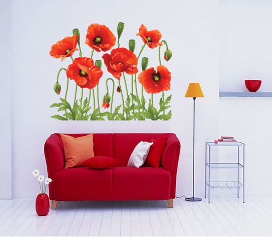 Sweet Range Flower Wall Stickers Decals Red Vanilla Plants
