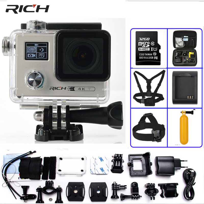 RICH Ultra HD F88 Action Camera Dual Screen NTK96660 4K 2160P 24FPS WiFi Go pro Style Extreme Waterproof 30M Sports Camara
