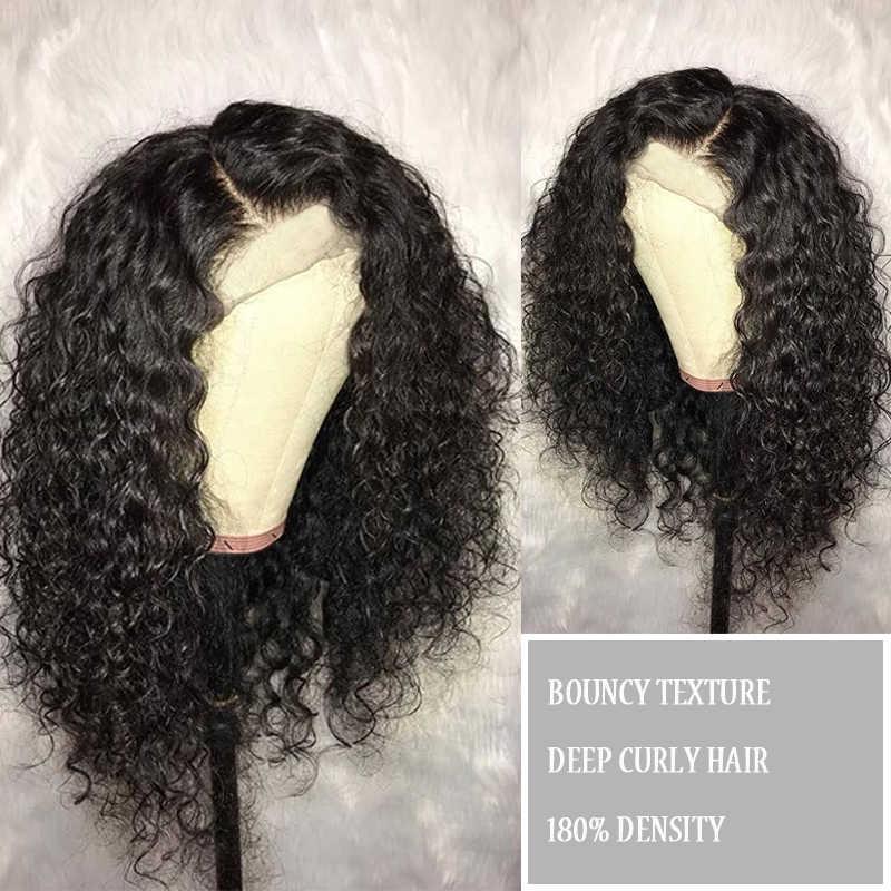 Peluca Frontal de encaje de onda profunda 360 Pre desplumada con pelo de bebé pelucas de cabello humano Frontal de encaje de 180 densidad para mujer remy negro peluca CARA
