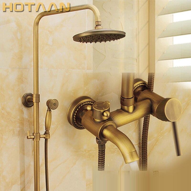 Wall Mounted Mixer Valve Rainfall Antique Brass Shower Faucet Complete Sets + 8 Brass Shower Head + Hand Shower + Hose YT-5337A wall mounted mixer valve rainfall antique brass shower faucet complete sets 8 brass shower head hand shower hose yt 5337a