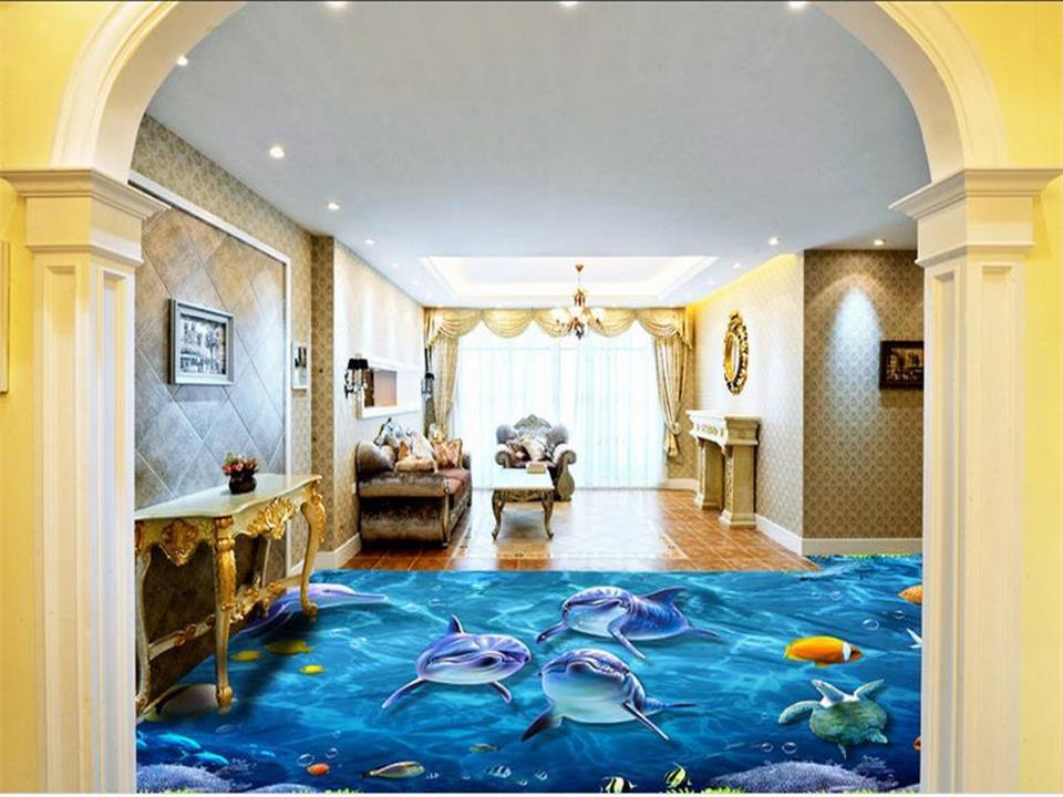 ФОТО 3d flooring wallpaper custom photo living room mural blue sea world dolphin 3d photo painting PVC self-adhesive floor wallpaper