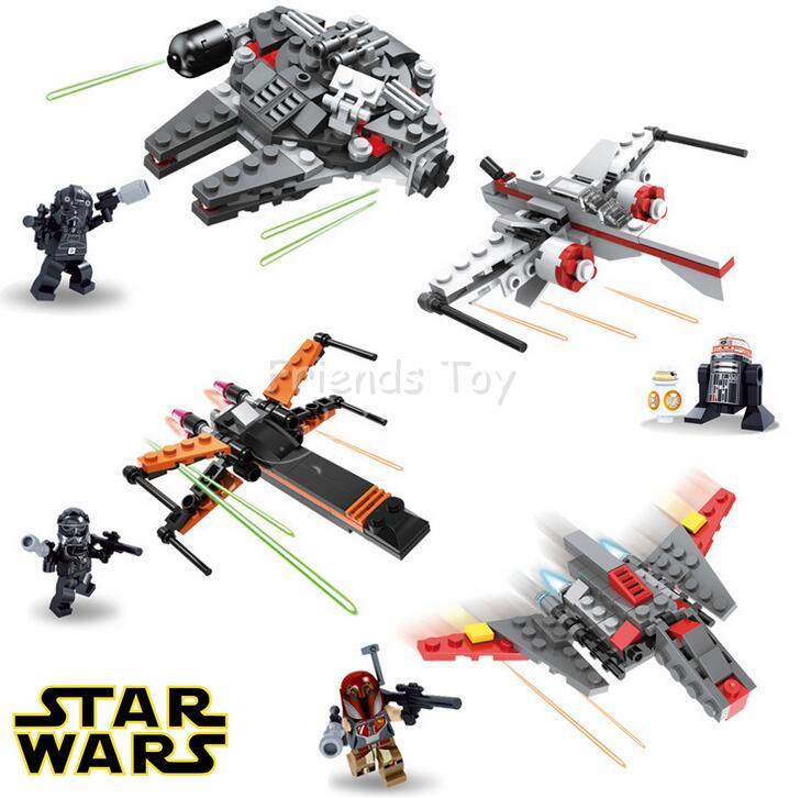 4 unids Mini Millennium Falcon x wing Fighter Star Batalla La Fuerza ...