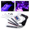 New Set Car 12V Interior Floor 9 LED Decorative Atmosphere Lights Lighting Remote Control Colorful Neon Strip for Audi Hyundai