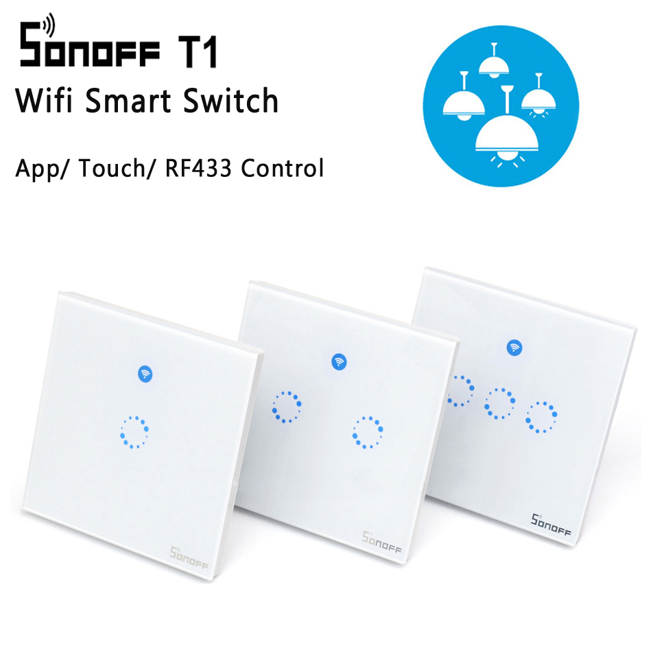Sonoff T1 Eu Uk Panel Wifi Rf 433   App    Touch Control