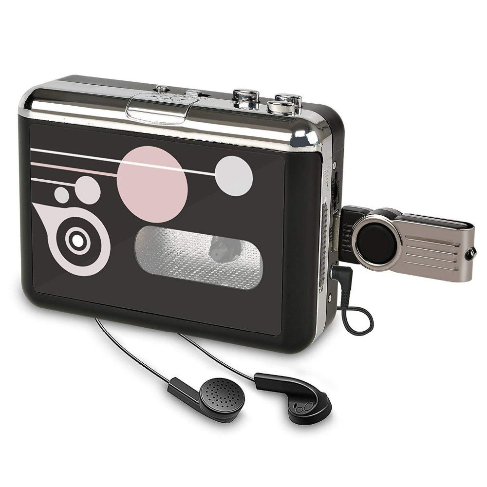 Portable Cassette Player , Digital Audio Music Recorder Tape to MP3 Converter Save into USB Flash Drive/No PC Required