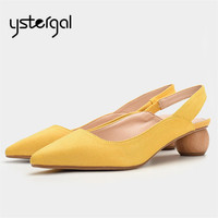 Ystergal Yellow Sexy Slingback Women Pumps Ball Heel Ladies Gladiator Sandals Stiletto Wedding Dress Shoes Woman Valentine Shoes