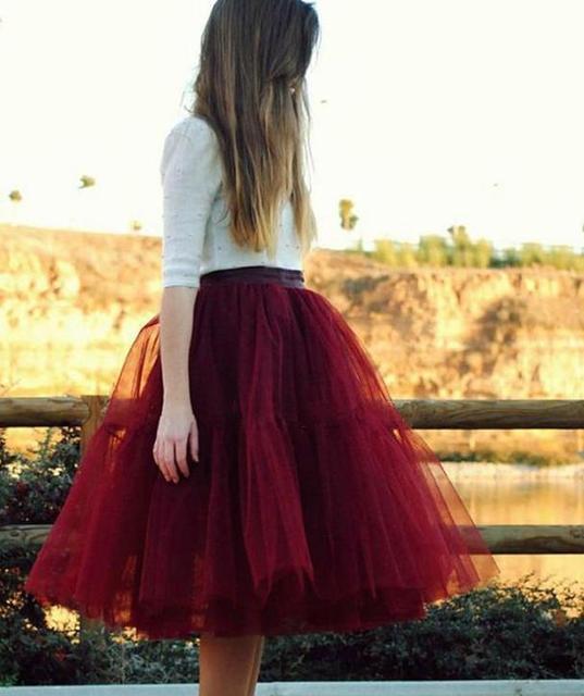 Hot Borgoña Rojo Adultos Tutú Corto Mujeres Faldas Plisadas Falda de Midi Barato American Apparel Señoras Falda De Tul