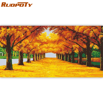 RUOPOTY 60x120cm Frame Forest DIY Painting By Numbers Landscape Acrylic Paint By Numbers Large Size For Living Room Home Decors