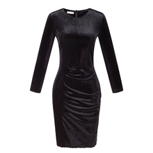 Women O Neck Velvet Draped Pencil Dress Autumn Office Lady Solid Casual Slim Long Sleeve Knee Length Dress Vestido Big Size XXXL