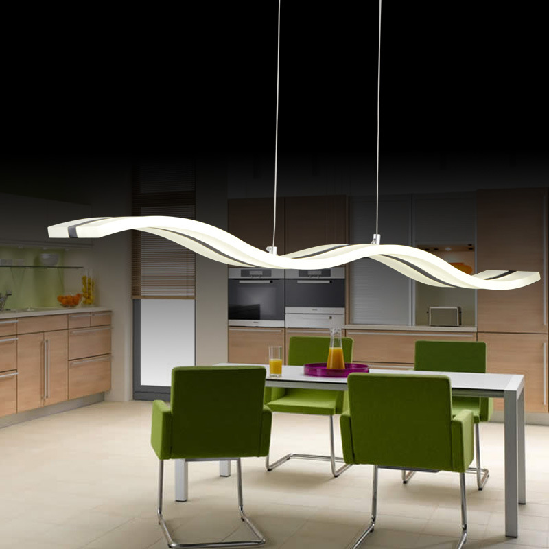 Modern Wave Linear LED Pendant Light For Kitchen Island Dinning Room - Led pendant lights for kitchen island
