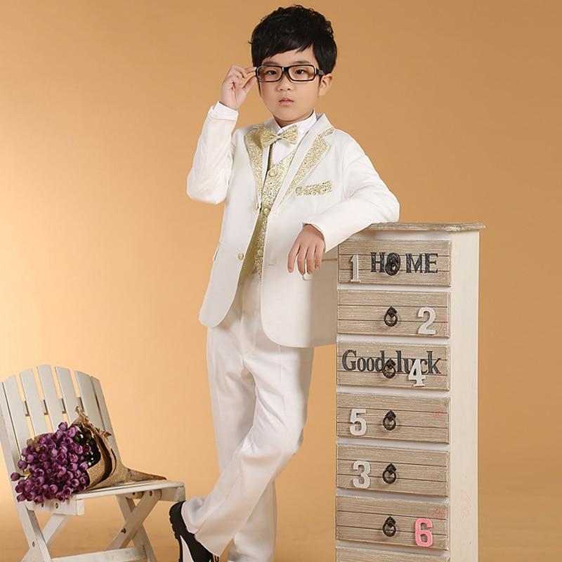5Pcs/Set New Arrival Fashion Baby Boys Kids Blazers Boy Suit For Wedding Prom Formal Black White Dress Wedding Boy Suits formal
