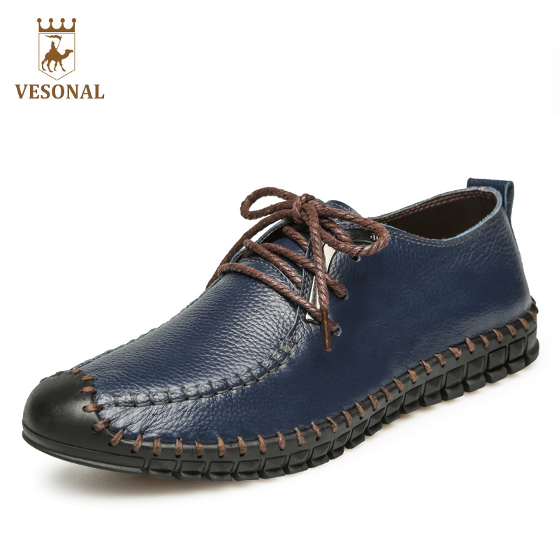 VESONAL 2017 New High Quality Brand Casual Men Shoes Male Oxfords Comfortable Genuine Leather Walking Breathable Man Footwear top brand high quality genuine leather casual men shoes cow suede comfortable loafers soft breathable shoes men flats warm