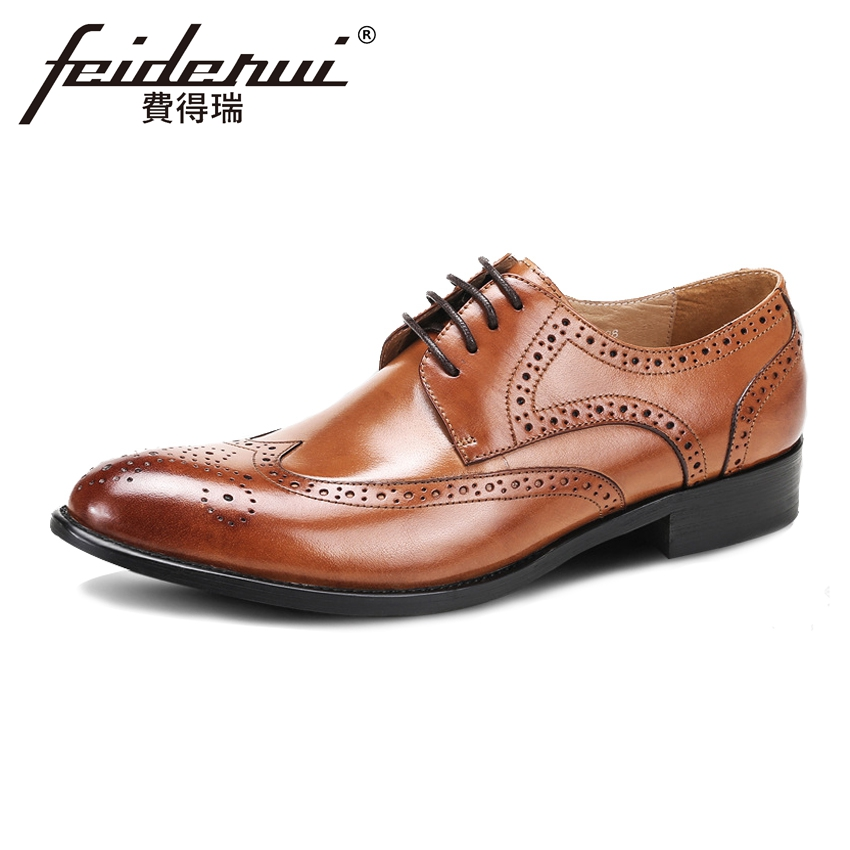 Vintage British Style Genuine Leather Men's Oxfords Round Toe Derby Male Wingtip Flats Formal Dress Brogue Shoes For Man ASD12 室内陈设空间设计