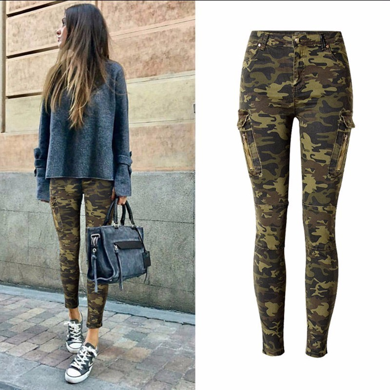TryEverything Military Jeans Women Skinny Camouflage Jeans Women Pencil Stretch Army Green Pants Zipper Jeans Female Plus Size Платье