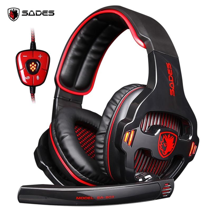 SADES SA-903 Высокопроизводительные Игровые наушники 7,1 Наушники с USB для ПК с глубокими басами и светодиодным микрофоном для геймеров ПК