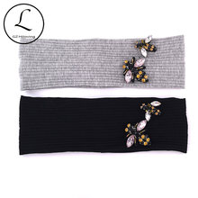 GZHilovingL Soft Cotton Bee Beads Woman Headbands Summer Spring Stretch Ribbed Headwear Hair bands Accessories for Ladies Girls(China)
