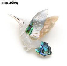 Wuli&Baby White Shell Hummingbird Brooch Wedding Gift Broche Pin for Women and Men Accessories Scarf Buckle