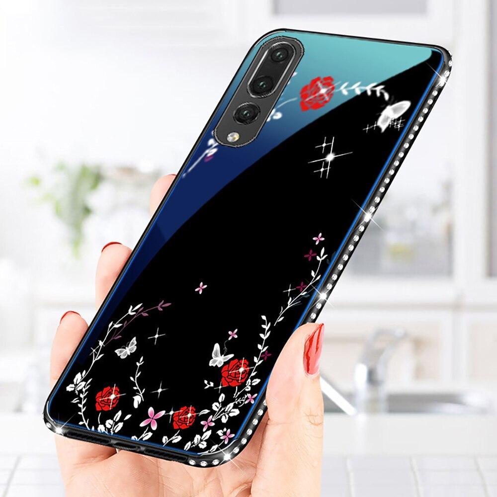 2018 Glass Case for Huawei P20/P20 Lite/P20 pro Phone Case For Nova3E Plating Blue Light Tempered Glass Cases Back Cover Shell