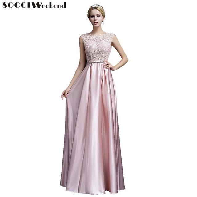 6b56671275c0 SOCCI Weekend Long Satin Lace Evening dress 2018 Women Elegant Bride Dresses  Crystal Sashes vestido de festa Formal Party Gowns