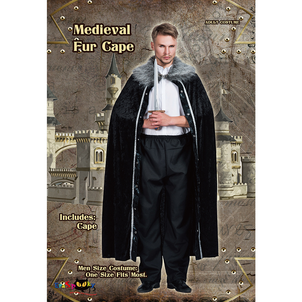 Men's Medieval Fur Cape Gothic Cloak Wicca Robe Medieval Larp Viking Cape Battle Hero Coat Halloween Carnival Cosplay Costume