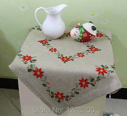 Embroidered Tablecloth For Christmas Decoration Polyester/lienen Christmas Table  Cloth With Hemstitch 83X74CM In Tablecloths From Home U0026 Garden On ...