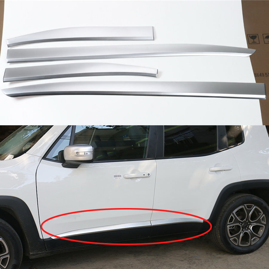 YAQUICKA For Jeep Renegade 2015 2016 Chrome ABS 4Pc Car Styling Exterior Door Side Body Protection Trim Decor Strips Sticker car styling abs chrome body side moldings side door decoration for hyundai ix35