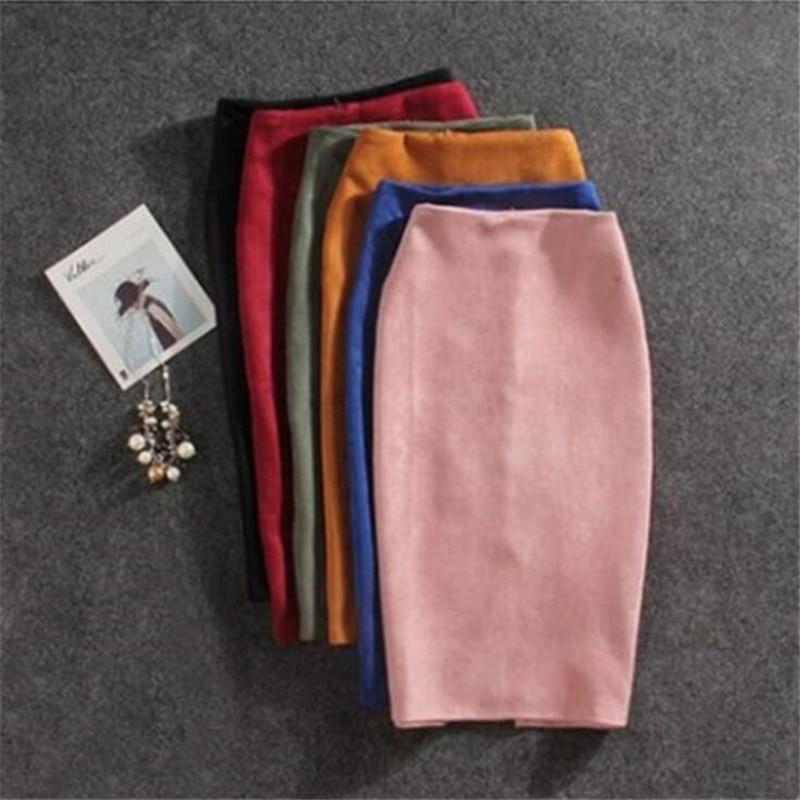 Ladies Skirt 2019 New Deer Velvet Bag Hip Slim Solid Color Long Skirt Open Pencil Skirt Large Size S-5XL