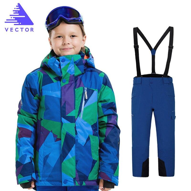 Combinaison de Ski marques pour enfants haute qualité Sports d'hiver vêtements épaissis garçon Ski costumes vêtements de sport veste imperméable + pantalon