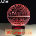 Cartoon Star Wars Table lamp Touch 7 Colors Death Star Desk Lamp 3D Lamp Novelty Led Sleeping Lampara  Acrylic USB LED Light