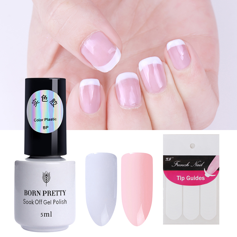 BORN PRETTY 2 Bottles White Nude Color Nail Gel French Manicure Tip ...
