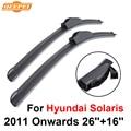 QEEPEI Wiper Blades Para Hyundai Solaris 2011 Em Diante 26 ''+ 16'' de Alta Qualidade Iso9001 Borracha Natural Limpar Frente brisa F03
