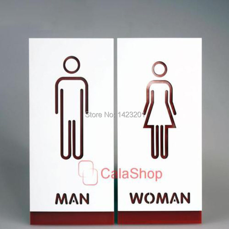 1 Set Toilet Door Sign Adhesive Plaque Men And Women Loo Bathroom