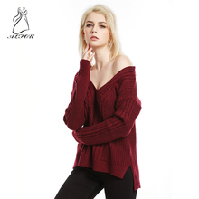 2019 Autumn and winter new sexy large size loose women's sweater long-sleeved shirt sweater solid color V-neck twist sweater twist front navel baring v neck sweater