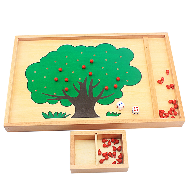 Wood Montessori Apple Tree Wooden Box Counting Apples Digitals Number Preschool Educational Learning Toys For Children Boys Girl