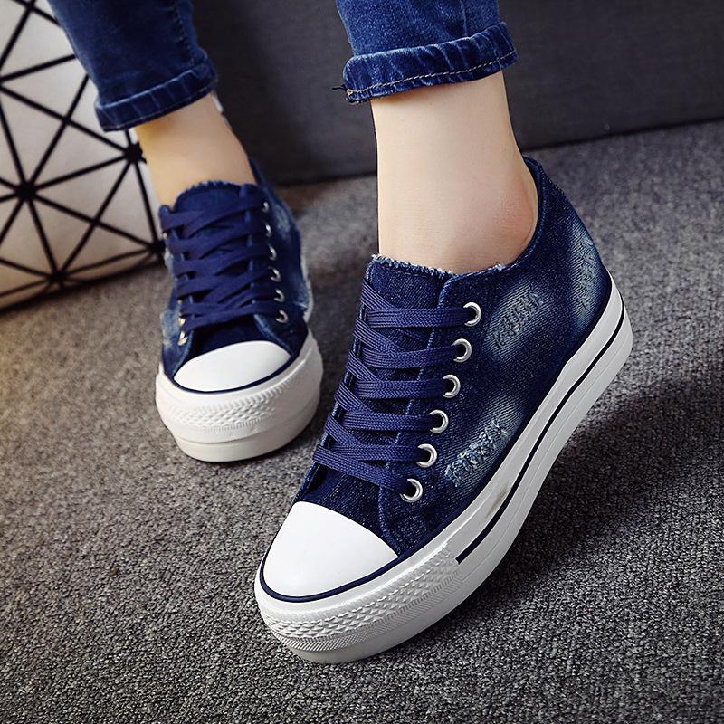 Semelle épaisse denim toile chaussures femme 2017 printemps nouveau confortable femmes chaussures de sport low cut