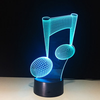 7 Color Change LED Lamp 3D Music Note Night Light Musical Note Instrument Light Luminaria Home