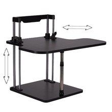 Sit/Stand Desk Riser Height Adjustable Lightweight Standing Laptop Notebook/Monitor Holder Stand With Keybaord tray DLJ02