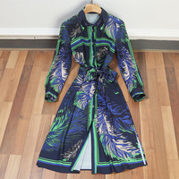 Runway Design Female 2 pieces suit 2018 Summer New Retro Sexy Cutout Dress Stained Printed Beaded Lapel Lace Waist Dress
