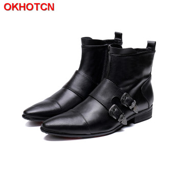 Black Cow Leather Winter Boots Men High Quality Double Buckle Men Chelsea Boots Zip Plus Size 47 Moon Boots Snow Handmade Shoes