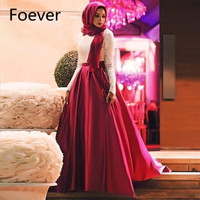 Muslim Arabic Women Evening Gowns Long Sleeve Lace And Satin Scarf Plus Size Formal Party Prom Dresses Robe de soiree Hot Sale