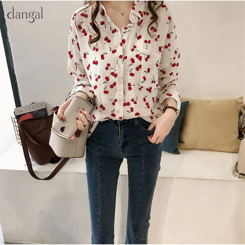49602c50df9 Dangal Vintage Blouse Women Plus Size Long Sleeve Blouse Womens Tops Print  Cherry Office Lady Shirt Blouses Feminine Shirt-in Blouses   Shirts from  Women s ...