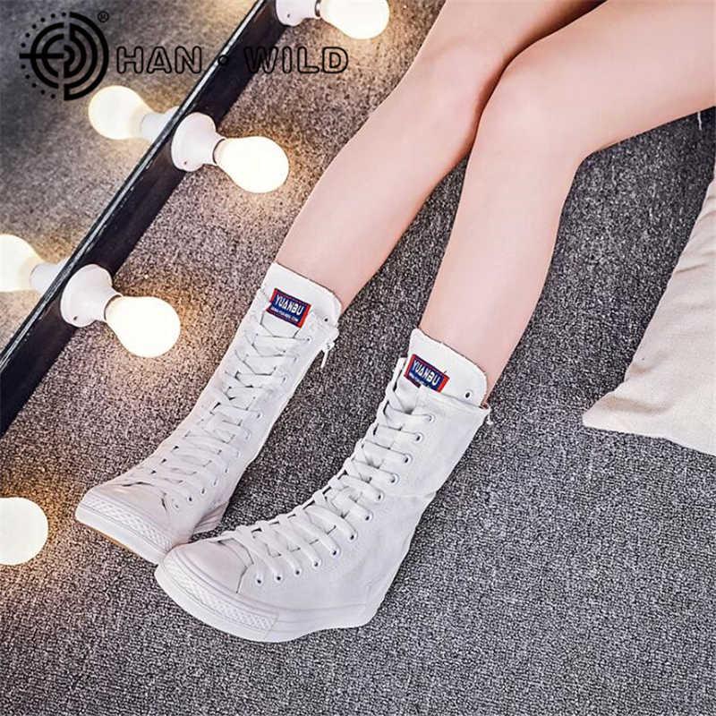 Cao TOP Sneakers Nữ Dây Kéo Bên Hông Giày Vải Giỏ Femme Trắng Giày Người Phụ Nữ Phối Ren Huấn Luyện Viên Nữ Tenis Feminino Thường Ngày