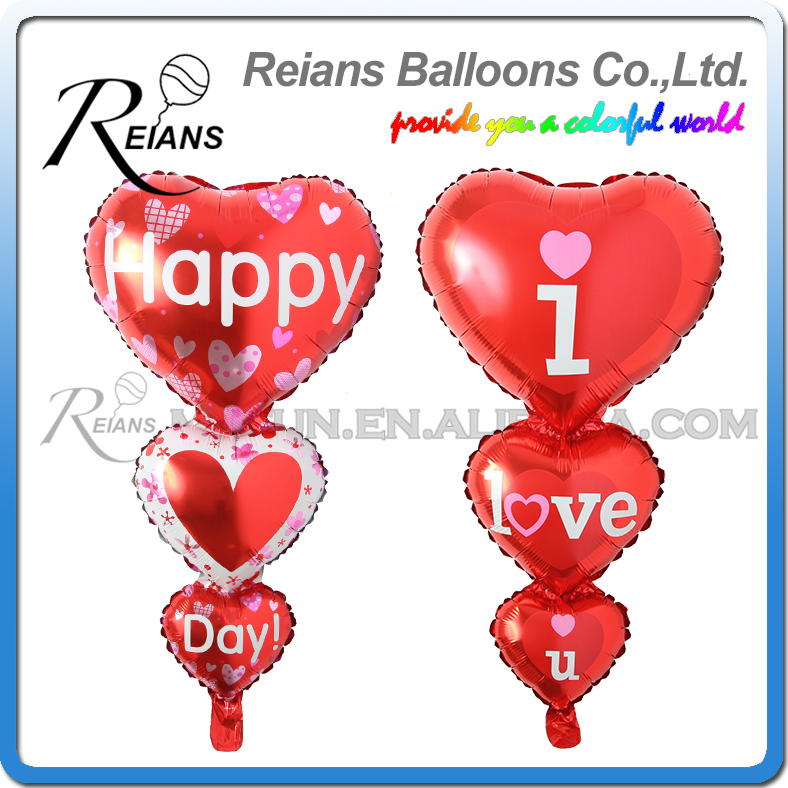 Wholesales 100pcs Bunch of 3 red Hearts Shape Balloons Foil Aluminum Balloon Birthday Wedding Marriage Celebration