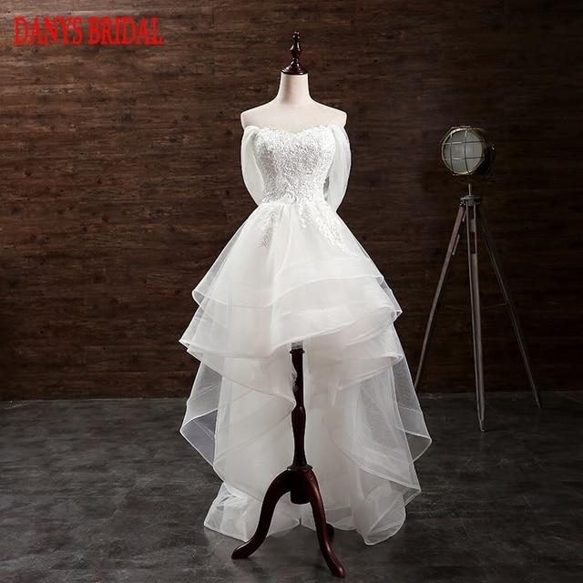 1dbac21e2 Alta Baixa Vestido De Noiva Curto Frente Longa Voltar Ruffle Tulle Querida  Nupcial Do Casamento Vestidos Weddingdress