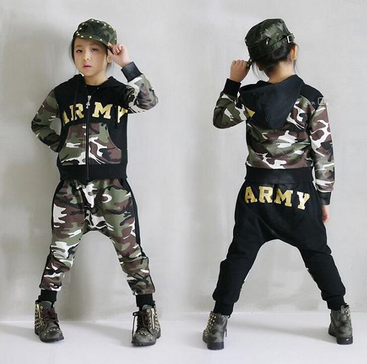 2017 Jarní podzim dětské oblečení sada kostýmy děti sportovní obleky ARMY Camouflage patchwork Hip Hop taneční kalhoty a mikina