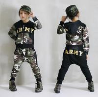 2017 Spring Autumn children's clothing set Costumes kids sport suits ARMY Camouflage patchwork Hip Hop dance pants & sweatshirt
