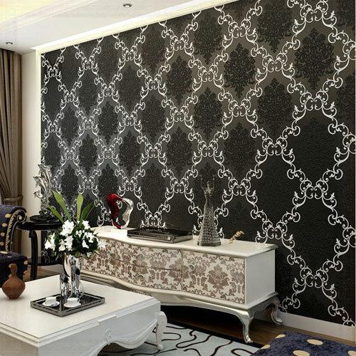 Papel De Parede Non Woven Flock Damask Wallpaper Roll For Kids Living Bedroom Room Tv