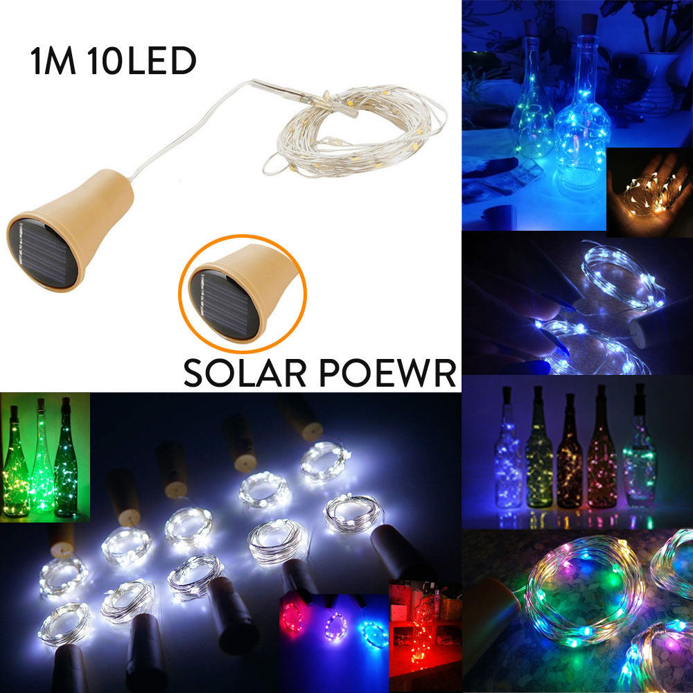 1M 10LED Solar Power Wine Bottle Decor Cork Shape LED Copper Wire String Light Garland Wire Fairy String Lights For Party Home