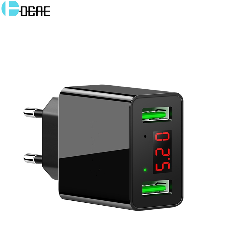 DCAE USB Charger 2 USB Ports 5V 2.2A Universal Wall Charger LED Digital Display Fast USB Charging Travel Adapter For Xiaomi mi