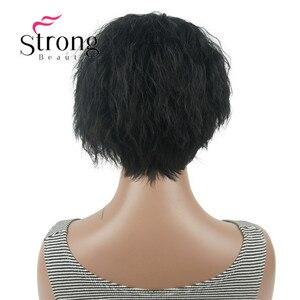 Image 5 - StrongBeauty короткий асинетический Боб черный пушистый волнистый полный синтетический парик